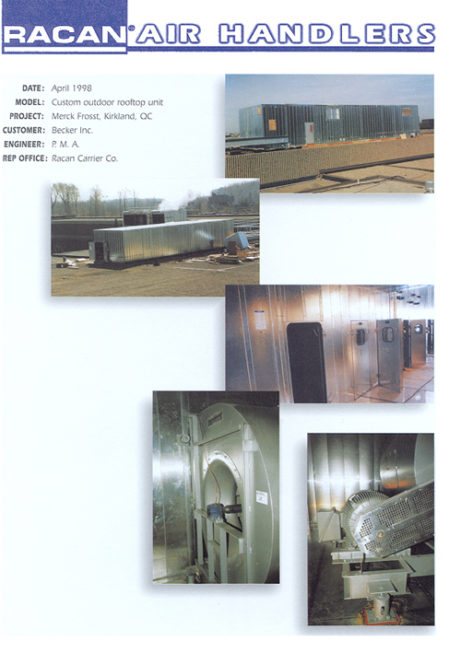 april 1998 - merck frosst, Air-conditioning, refrigeration, heating, cooling, HVAC, optimair, air cleaner, acoustair, transport, commercial refrigeration